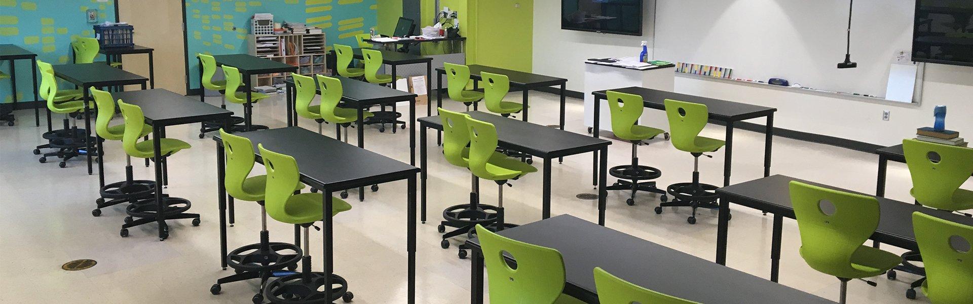 Corilam Lab Classroom Adjustable Height Desks